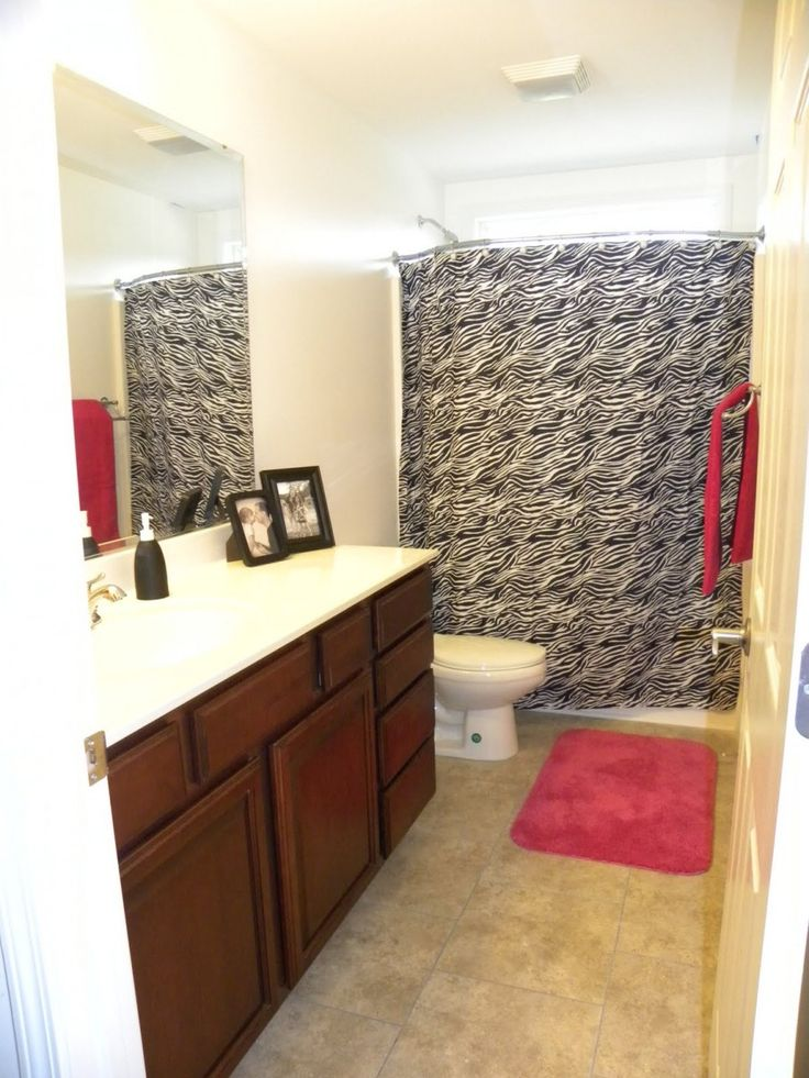 Chic Zebra Print Bathroom Ideas: Appealing Curtain In The Zebra Print Bathroom With Wooden Vanity And White Sink Under The Clear Mirror