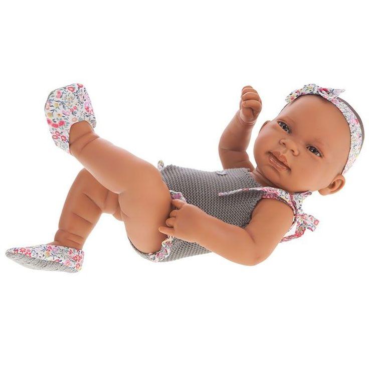 Antonio Juan doll 42 cm - Newborn girl mixed race doll with grey swimsuit - corps vinyl - 44€ - DollsAndDolls (Collectible Dolls) #racingswimsuits