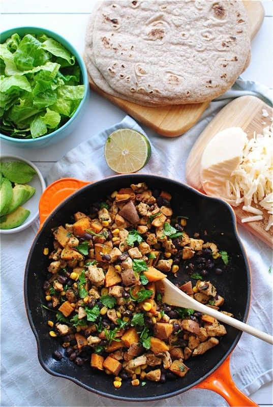 Quorn,sweet potato, black bean tacos/fajitas