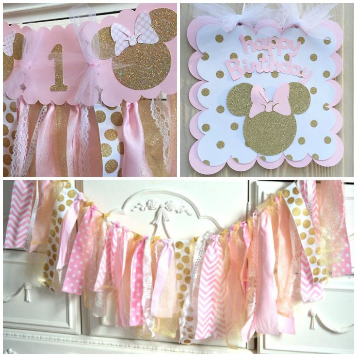 Pink and Gold Minnie Mouse Birthday Package , Gold Polka Dot , Highchair banner, Party Sign, Fabric strip banner, First Birthday Baby Shower by PrettyBoutiqueParty on Etsy https://www.etsy.com/listing/272132496/pink-and-gold-minnie-mouse-birthday