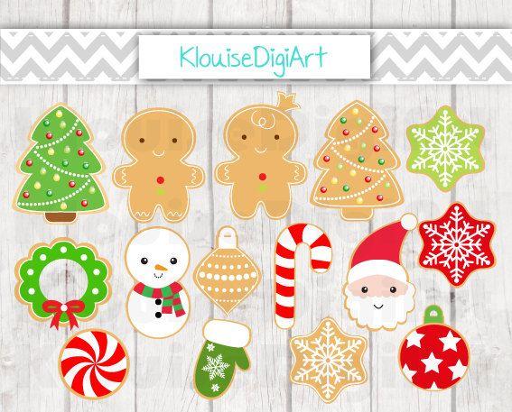 Christmas Cookies Digital Clipart Graphics by KlouiseDigiArt