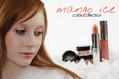 Mango Ice collection: Emily (above) is wearing: Foundation: Ivory Chinook (Loose Mineral Foundation) Cheek Color: Matte Coral Eyes:  Peach Freeze blended with Mango Ice Eyeliner: Black Pureline Pencil Lashes:  Natural Mascara Lips:  Mango Ice Lip Gloss