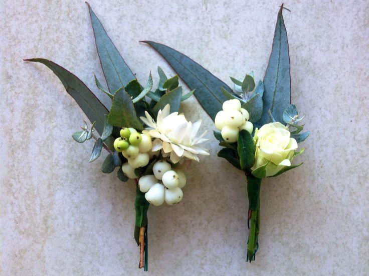 Australian native flower buttonholes for a backyard wedding.