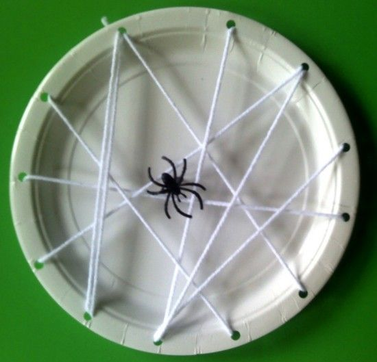 Paper Plate Spider Web. Kids decorated the background before stringing the web. A good 30 min activity!