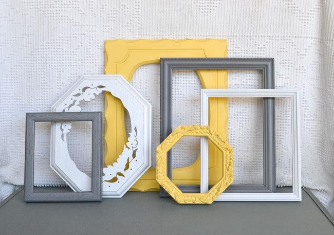 Yellow, Grey/Gray White Ornate Frames Set of 6 - Upcycled Frames Modern  Bedroom Decor, Etsy