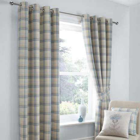 Patterned with classic checks in duck egg blue and natural hues, these eyelet…
