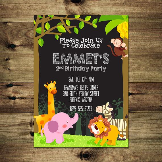 Jungle Animals Birthday Invitation Bday_inv_022 by PapierMignonID