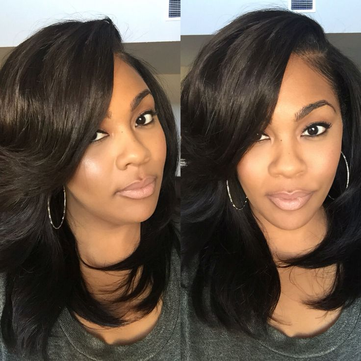 Layered sew-in with heavy bangs. Hair styled by Plushh.