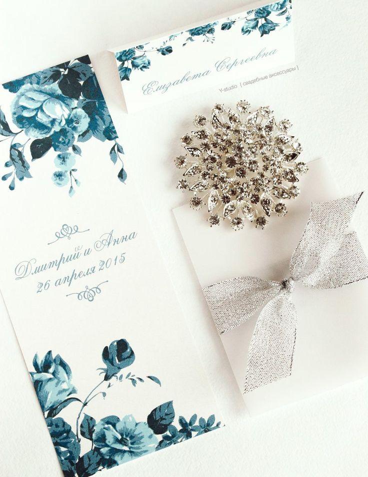 Синие пригласительные, цветочные приглашения, пригласительные с цветочным принтом - фото 3444267 Y-studio - приглашения и аксессуары