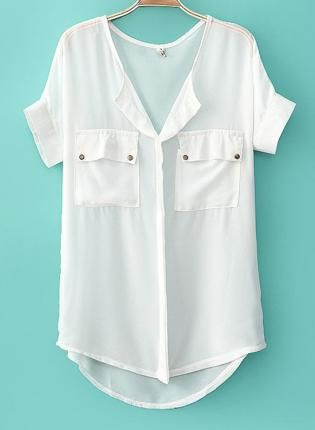 White Top - Casual Solid Color Chiffon Shirt