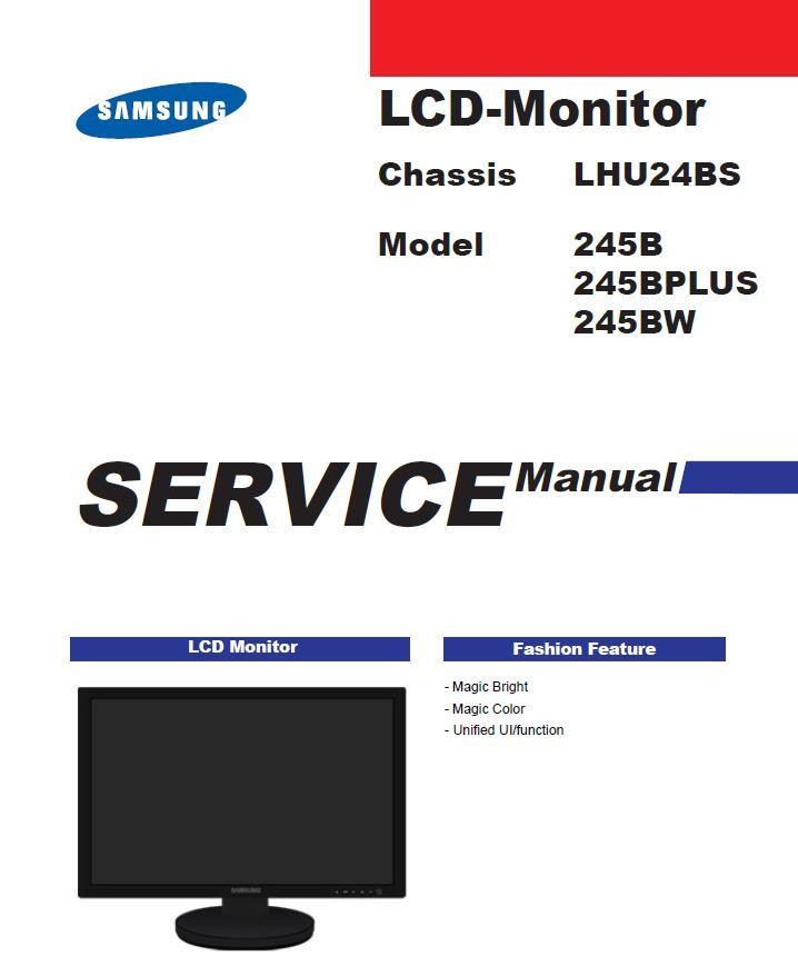 Samsung Syncmaster 245 Bw 245b Plus Lcd Monitor Service Manual Lcd Monitor Samsung Monitor