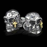 Scott Kay Men's Silver Skull Links with Cross