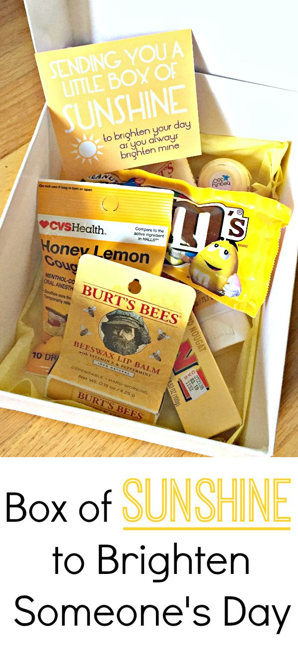 """Give a friend a """"Little Box of Sunshine"""" when they are sick or going through a tough time. Perfect way to brighten someone's day."""