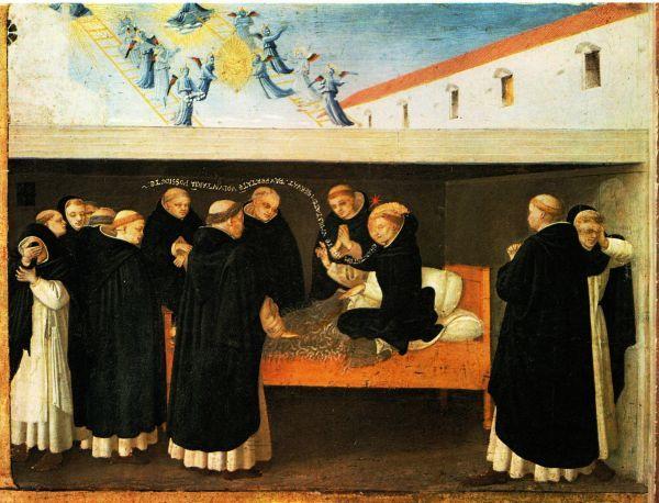 Dood van Sint Dominicus. Hij zit rechtop in kussens op een haren kleed (teken van boete). Zijn laatste woorden luiden:  'Charitatem habete; humilitatem servat(e); paupertatem volutariam possidete.'  (Hebt liefde; bewaart de nederigheid; bezit de vrijwillige armoede) Boven voeren engelen langs ladders een gouden mandalla waarin de H.Maagd met de ziel van Dominicus, naar de hemel. vóór 1455, Fra Angelico, paneelschildering. Frankrijk, Parijs, Louvre.