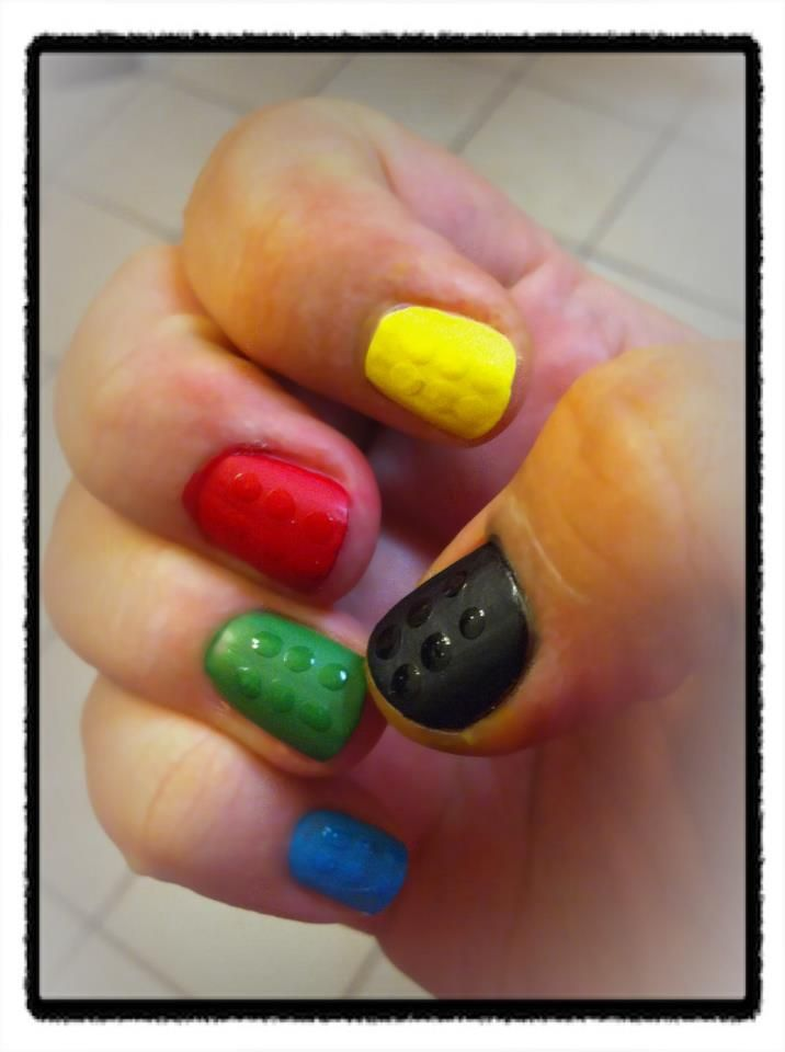 My Lego Nails: Basic LEGO colors, matte top coat, add dots of shiny color over when dry - easy peasy!     (And they matched my son's 5th birthday party theme!)    lego nail art polish