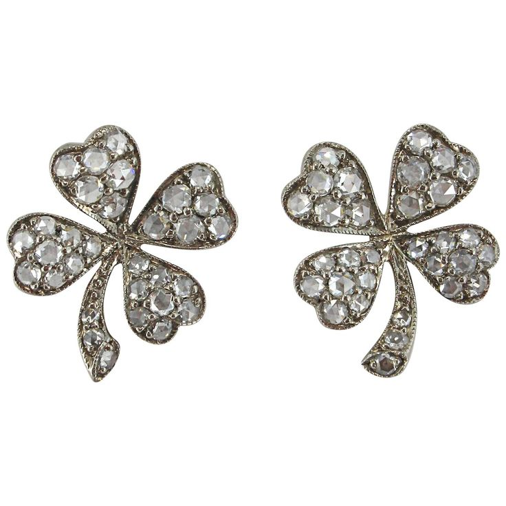 Jona Diamond Gold Four-leaf Clover Earrings 1