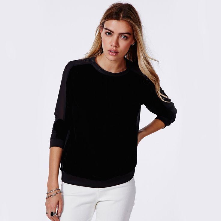 Hdy haoduoyi мода шифон лоскутная топы женщины с длинным рукавом женщины пуловер топы сладкий стиль сплошной черный дамы блузки рубашкикупить в магазине NEW FASHIONS наAliExpress