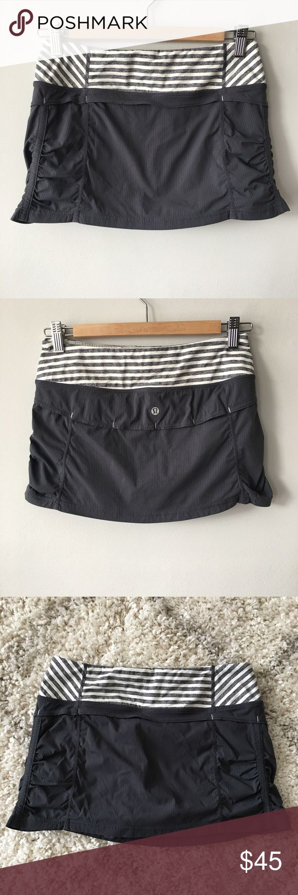 🍋 Lululemon Jog Skirt Lululemon Jog Skirt in gray. Nylon/Spandex skort with soft, stretchy striped waistband. Shorts attached underneath. Lightly worn & washed - no stains, holes or pilling- great, pre-owned condition. Bundle & save 💰! Sorry - 🚫 trades! lululemon athletica Shorts Skorts