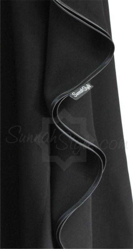 Satin Trimmed Full Zip Butterfly Abaya (Black) by Sunnah Style  #SunnahStyle #abayastyle #farasha #abayastyle #satintrim