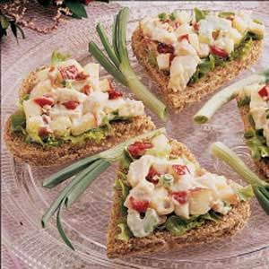 """Curried Chicken Tea Sandwiches ~ """"At the Victorian-theme bridal shower I hosted, I spread this dressed-up chicken salad on bread triangles. It's also appealing served on a lettuce leaf. Apples and dried cranberries add color and tang."""" -Robin Fuhrman, Fond du Lac, Wisconsin"""