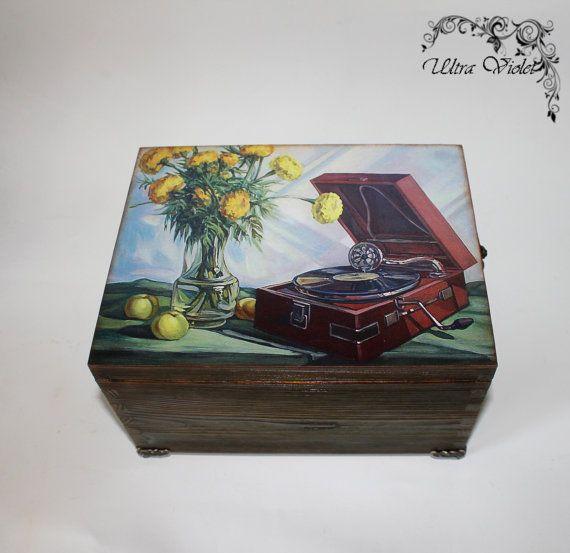 Große Holzbox für Foto CD Diskette Musik von UltroViolet auf Etsy, €24.00