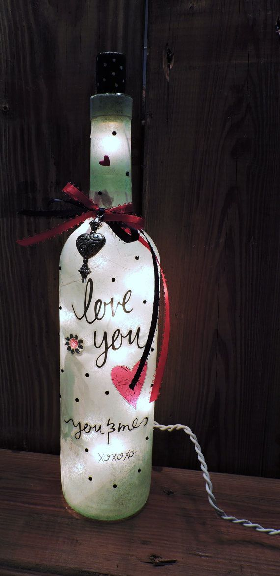 Valentine Wine Bottle Lamp/Wife Wine Bottle Light/Girlfriend Valentine's Day/ Nite Light/Gifts for Women/Home Decor/Wine Bottle Light
