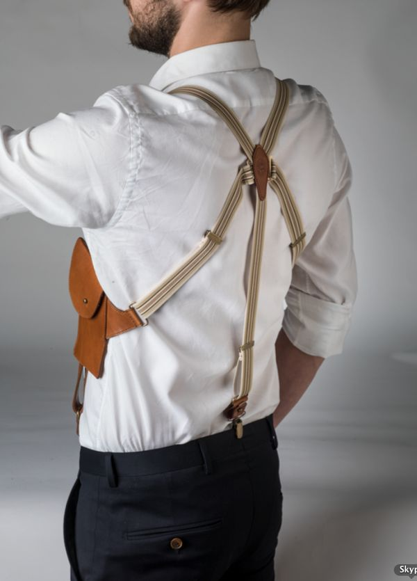 leather SUSPENDER with pockets: cognac with light fabric - MAYENNE NELEN