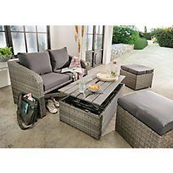 DESTINY Loungeset »Jersey«, 2er - Sofa, 2 Hocker, Tisch 108x58 cm, Polyrattan kaufen