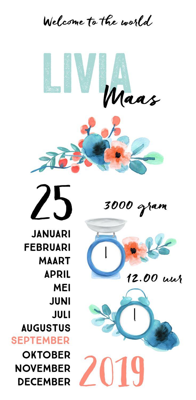Lief kalender geboortekaartje met bloemen, weegschaal en klok.