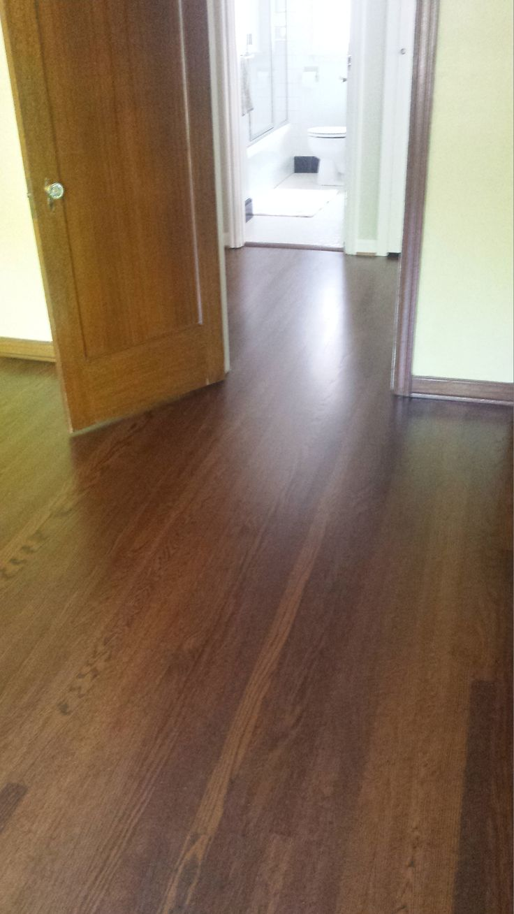 Red oak wood floor, refinished with duraseal medium brown