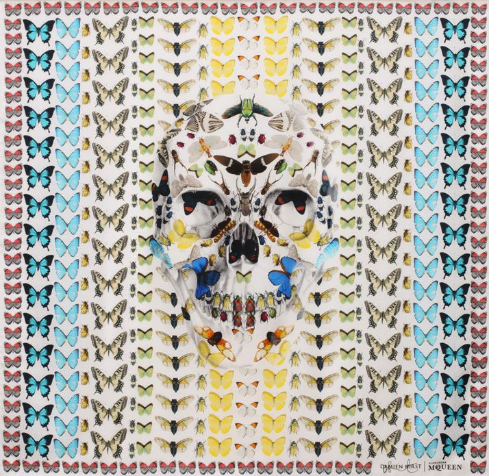 In Celebration Of The 10th Anniversary Of The Skull Scarf, Alexander McQueen Collaborates With Damien Hirst | http://www.yatzer.com/alexander-McQueen-damien-hirst-scarves
