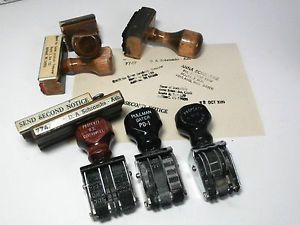 Lot-of-8-Vintage-Wood-Handled-Rubber-Stamps-Assorted-Office-Stamp-Sizes-Styles