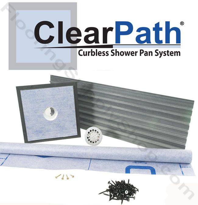 clearpath curbless shower system 48 pvc drain by