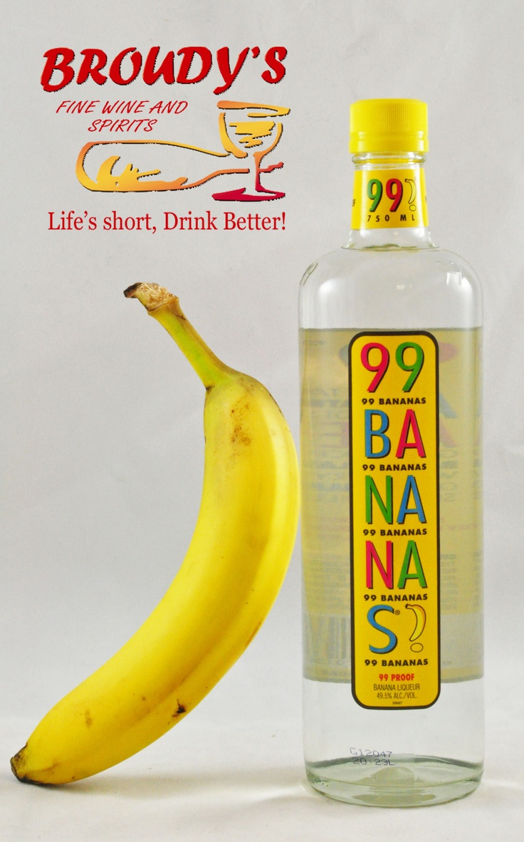 99 Bananas Liqueur 750ml. A great way to get down to some serious monkeying around. 99 Bananas is 99 Proof (49.5% ABV)! Makes a great creamsicle shaken up with orange juice and ice. The brutish gorilla in me says chilled shots where as the refined chimpanzee says mix it with a whipped cream vodka. A bunch of a-peel! Get it?! A Peel! Life's short, enjoy my jokes and Drink Better!