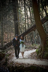 Cave wedding in the middle of a forest.