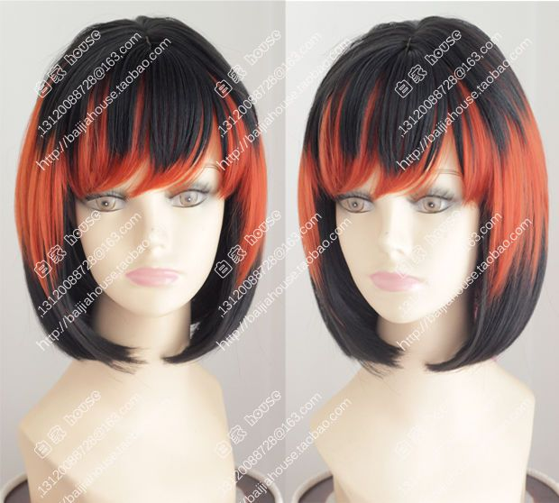Black and orange highlights bob Short straight hair Costume party women wig  #baijiahouse #FullWig