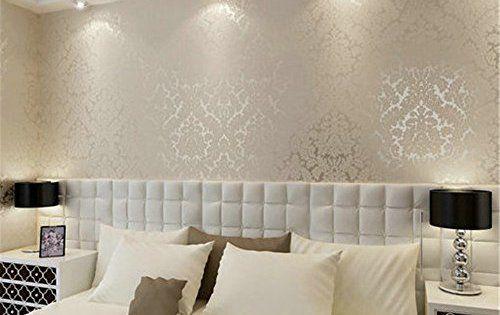 ufengke Non-Tissé Flocage Bronzing Gaufré Damas Texturée 3D Motif de Dentelle Papiers Peints Décoration Murale Pour Le Salon Chambre:…