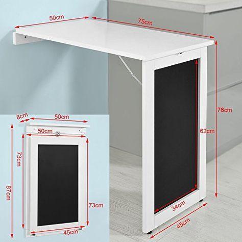SoBuy®Mesa plegable de pared, escritorio para fijar en la pared, con pizarra frontal ,blanco,FWT20-W,ES: Amazon.es: Hogar