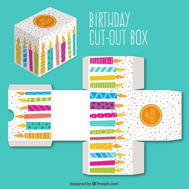 Bonita caja recortable con velas de cumpleaños Vector Gratis