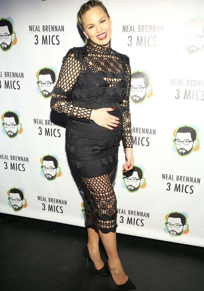 Chrissy Teigen slays all maternity wear in a haute Asilio dress