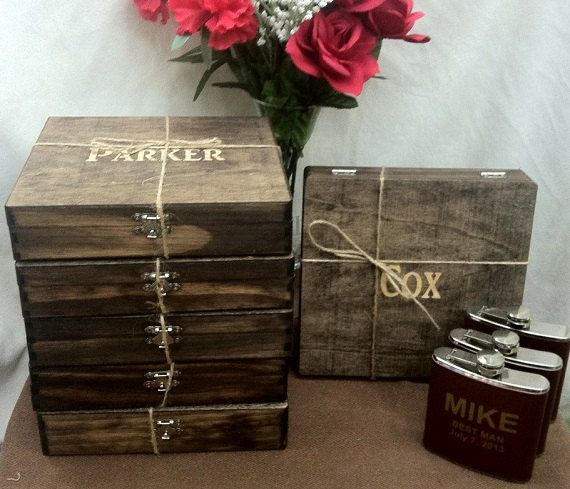 Groomsmen Gift Set of 8 Cigar Boxes Wedding di TheSmilinBride