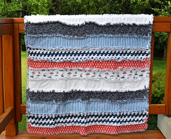 Nautical Theme- Layered Flannel Rag Quilt- 4 Layers of Navy, Red, and White Flannel -Rag Quilted for a Rustic look