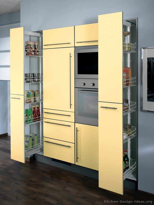 116 best yellow kitchens images on pinterest for Modern yellow kitchen cabinets