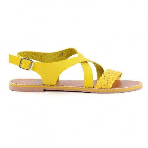 Gevlochten sandalen - geel