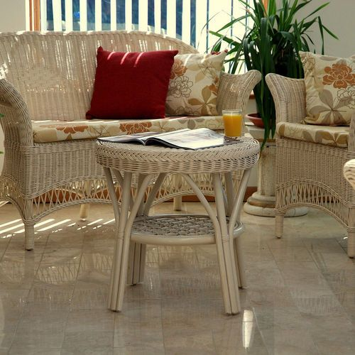 Small Loom Style Cane Conservatory Furniture Set In Cream