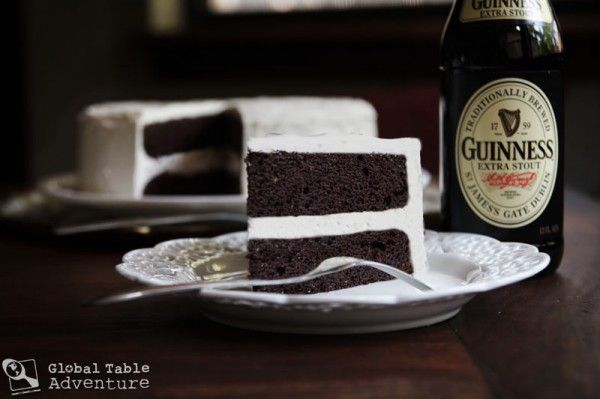 Dark Chocolate Guinness Cake with Bailey's Buttercream. St. Pats cake. MMM