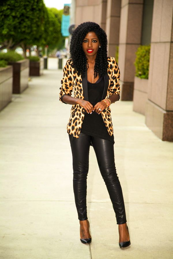 Leopard Print Blazer + Tank + Leather Moto Pants
