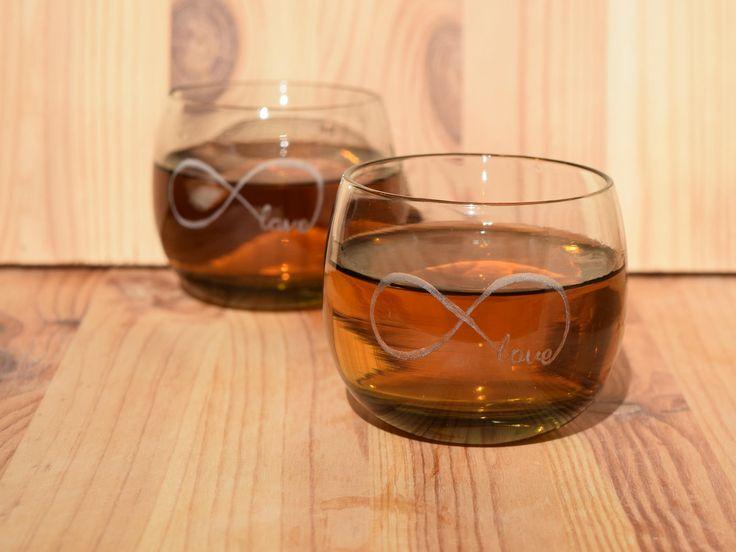 Smoked Glasses, Drinking Glasses, Retro Glassware, Mid Century, Hand engraved wine glass, Smoked glasses, Infinity symbol, http://etsy.me/2EaASjD #housewares #clear #housewarming #christmas #yes #glass #drinkware #barware #smokedglass