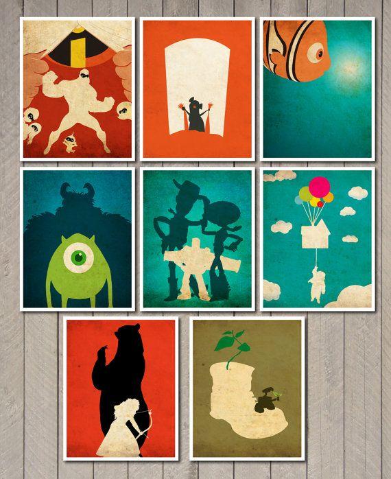 Jeu de 8 x 10 Disney Pixar film affiche par MINIMALISTPRINTS