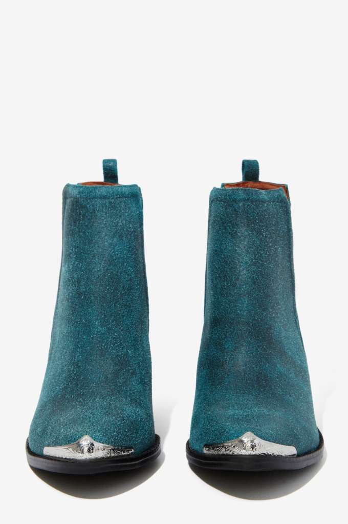 Jeffrey Campbell Cromwell Suede Bootie - Teal - Jeffrey Campbell | Flats | Ankle | Shoes